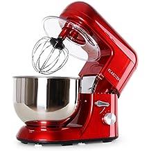 Klarstein Bella Rossa Robot de Cocina Multifunción Batidora Amasadora Roja (Adecuada para hacer claras a punto de nieve, 3 piezas, 6 niveles de velocidad, recipiente de acero inoxidable de 5l, fácil de limpiar, 1200W, 1.6 HP)