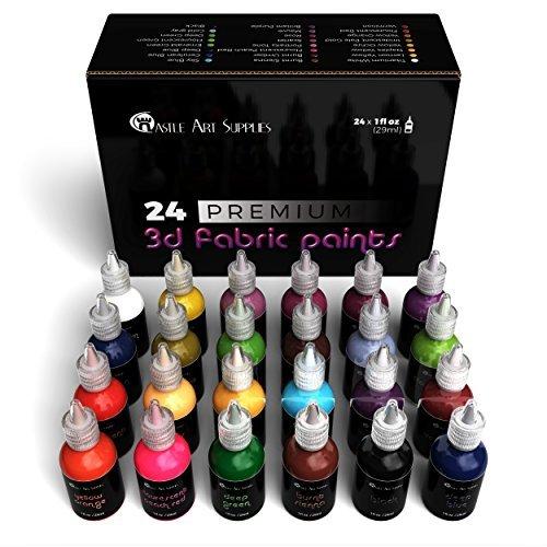 (Castle Art Supplies 3D Stoff Paint Set–24Premium Lebhafte, Bauschige Farben perfekt für Kleidung, Leinwand, Glas und Holz–29ml pro Flasche, nicht giftig, sicher für Kinder)