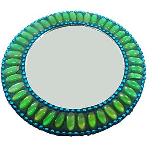 Espejo redondo india moldeada hecha a mano de material Decoración Mujeres Accesorios de Vestir espejo antiguo espejo de estilo de la