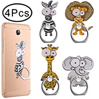 Outee 4 Pcs Cell Phone Ring Holder Finger Ring Stand with Cute Animal 360 Swivel for Smartphones Tablet (Zebra, Giraffe, Elephant, Lion)