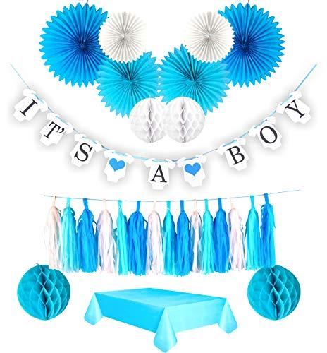 Dekorationsset für Babypartys. Spruchband und Party-Tischdecke inklusive. Komplettes 27-teiliges Set für Babyparty