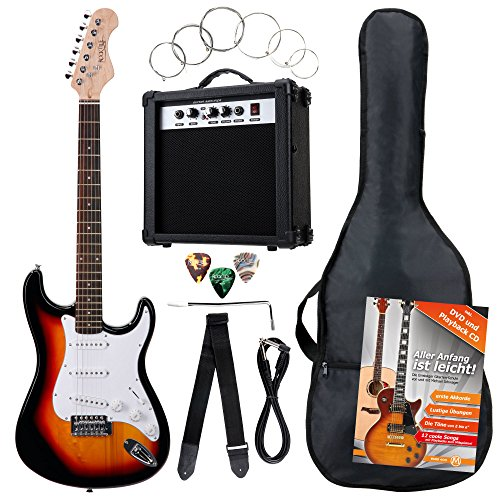 Rocktile Banger's Pack Komplettset E-Gitarre Sunburst (Verstärker, Tremolo, Tasche, Kabel, Gurt, Plecs, Ersatzsaiten und Schule mit CD/DVD) -