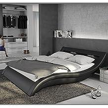 Muebles Bonitos – Cama de diseño modelo Atenas en color Negro 160x200cm Con LED