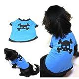 Blau Lovely Pet Hunde Baumwolle Totenkopf Bild bedruckt Kleidung T Shirt Puppy Shirt