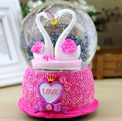 YOIL Exquisites und anmutiges Geschenk Rose Swan Love Kreative Kristallkugel Rotary Snowflake Music Box-Red Base Rose Swan