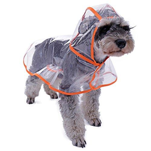 PAWZ Road Transparente Hund Regenmantel Wasserdichte Kapuzenpulli Regenhülle Jacke für Katzen Welpen Kleine mittlere Haustiere Regenbekleidung Kleidung im Freien (Color : Orange, Size : S)