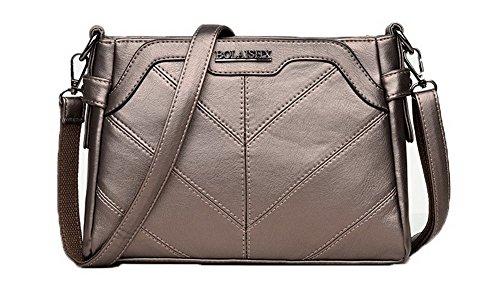 VogueZone009 Donna Luccichio Borse di tela Shopping cerniere Borse a tracolla,CCALBP180915,Oro
