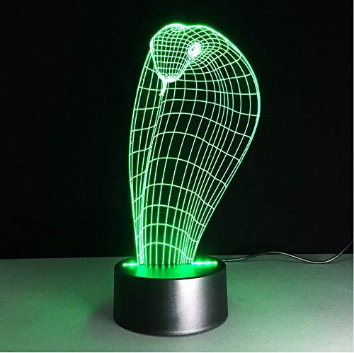Kreative 3D Visuelle 7 Bunte Ändernde Tier Boa Schlange Led Schlafzimmer Leuchten Dekor Nachtlichter Touch Schalter Tischlampe