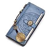Geldbeutel lange Männer und Frauen Nebel Wachs Schicht Rindsleder wischen Wachs Haut große Kapazität Handy retro Brieftasche japanischen Stil Reißverschlusstasche (Blau)