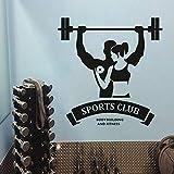 zhuziji Sport Club Logo Adesivo murale Body Building e Fitness Adesivo murale Palestra Decorazione da Studio Manubrio Vinile Poster da Parete 42x43cm