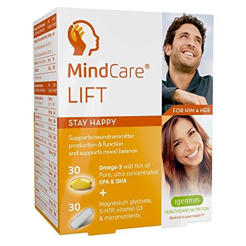 MindCare LIFT, complément alimentaire de bien-être émotionnel - huile de poisson sauvage oméga-3 haute puissance, magnésium, 5-HTP et multivitamines pour équilibrer l'humeur et soutenir le fonctionnement du cerveau et la production de neurotransmetteurs, 30 capsules d'oméga-3 + 30 gélules de micronutriments