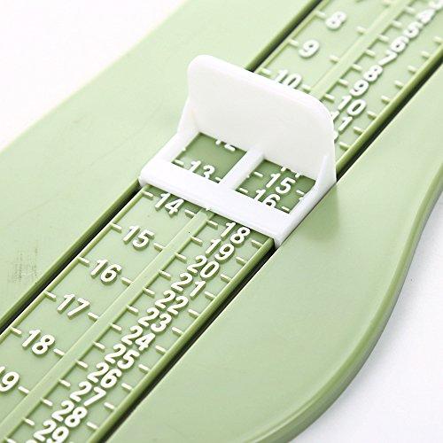 1PCS Baby Foot righello Kids lunghezza misuratore dispositivo bambino shoe calcolatrice infantili scarpe raccordi manometro Tool 23 * 8cm green