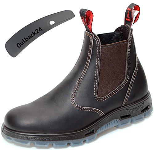 Redback UBOK Work Boots Arbeitsschuhe aus Australien UNISEX - Claret Brown + Schuhlöffel (UK 09.5 / EU 43.5) -