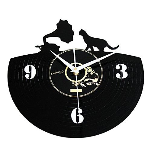 FUHOAHDD Leise Wanduhr Vinyl Record Kätzchen Wall Clock (Kätzchen Wecker)