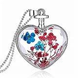 Merletto della regina Anne dimenticare Me non reale asciutto fiore cuore vetro bottiglia ciondolo collana regalo