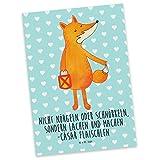 Mr. & Mrs. Panda Postkarte Fuchs Laterne - 100% handmade in Norddeutschland - Grußkarte, Laterne, Postkarte, Liebeskummer Spruch, Fuchs, Papier, Karte, Cäsar Otto Hugo Flaischlen, Sankt Martin, Spruch trösten, Füchse, Geschenkkarte
