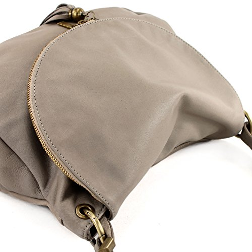 modamoda de - ital. Ledertasche Damentasche Schultertasche Umhängetasche Nappaleder T40 Beigegrau