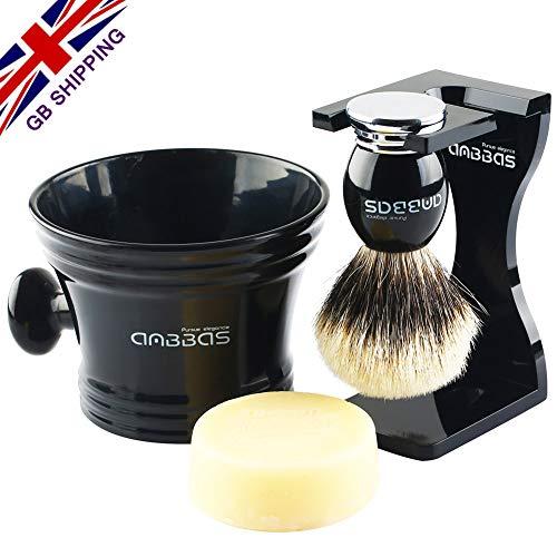 4-teiliges Rasierset Das Haar vom Silberdachs Rasierpinselständer und Schwarzer Rasierbecher mit Seife rasieren ()