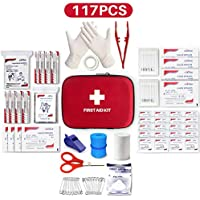 Best First Aid Kit, 117 Pieces Hard Case First Aid Kit Includes Emergency Foil Blanket, CPR Face Mask, Travel, Office, Workplace, Child Care, Hiking, Survival & Outdoor,Suitable For Group Purchasing