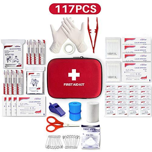 Kleines Mini-Erste-Hilfe-Set, 117 Teile Hartschalen-Erste-Hilfe-Set Enthält Notfallfolien-Decke, CPR-Gesichtsmaske, Sicherheits-Pfeife für Zuhause, Reise, Büro, Arbeitsplatz, Kinderbetreuung, Wandern, Überleben & Outdoor