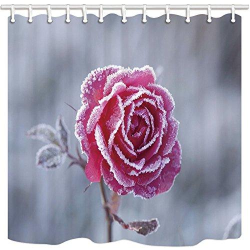 Nyngei Valentinstag-Duschvorhang mit Schnee Winter-Rose Romantik Schimmel Wasserdicht Polyester...