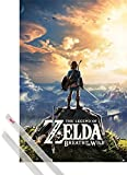 1art1® Póster + Soporte: The Legend of Zelda Póster (91x61 cm) Breath of The Wild, Puesta del Sol Y 1 Lote De 2 Varillas Transparentes