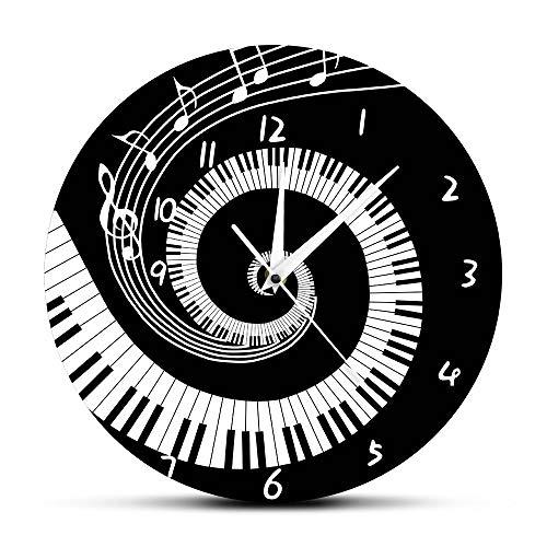 LINWX Elegante Klaviertasten Schwarz und Weiß Moderne Wanduhr Musiknoten Welle Runde Musik Tastatur Wanduhr Musikliebhaber Pianist