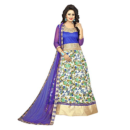 Trishulom Anarkali Suit - Semi Stitched Full Length BlueBanglory Satin Silk Printed Suits For Women Beautiful Ethnic Suits For Festive Occasions Women Long Kurtis