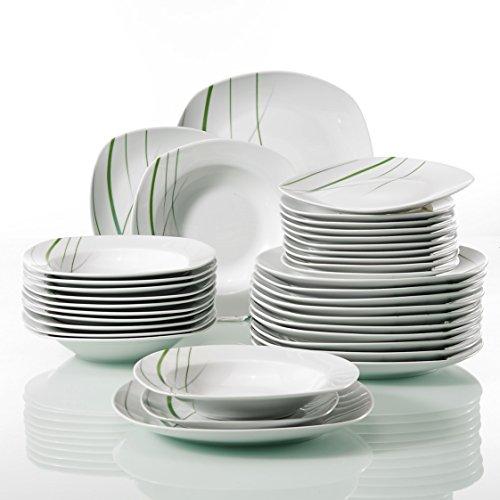 Veweet AVIVA 36pcs Assiettes Pocelaine Service de Table 12pcs Assiettes Plates 24,7cm, 12pcs Assiette Creuse 21,5cm, 12pcs Assiette à Dessert 19cm Vaisselles pour 12 Personnes