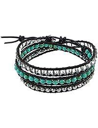 Bracelet wrap superbe fabriqué à partir de turquoise 4mm, cristal et perles d'argent claires 3 -wrap bracelet en chaîne unisexe