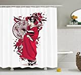 ADAM MARTINEZ JR Apartment Decor Shower Curtain, Kimono Wearing Asian Girl with Flowers Cultural Native Feminine Cloth Design, Fabric Bathroom Decor Set with Hooks, 75 inches Long, Red White