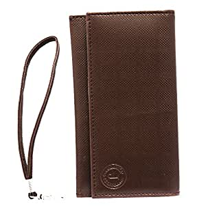 Jo Jo A5 D4 Leather Wallet Universal Pouch Cover Case For nokia 730 Brown