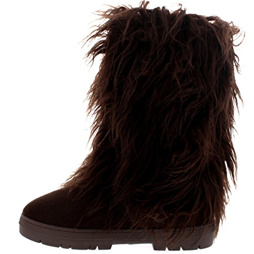 Damen Long Fur Covered Regen Pelz Gefüttert Winter Warm Tall Schnee Stiefel Braun