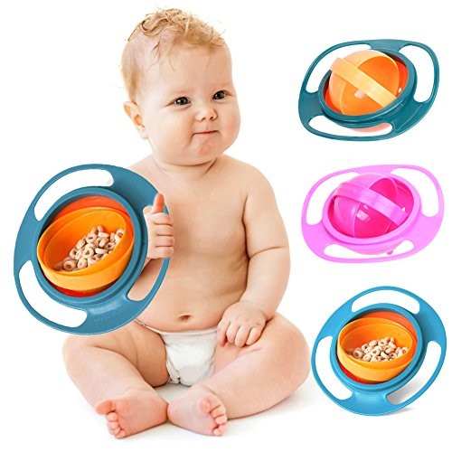 Amazing Non Spill Feeding Toddler Gyro Bowl 360 Rotate Dishes For Baby Food