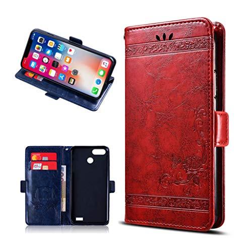 """KJYF Hülle für Blackview A7 Pro (5.0\""""), Standfunktion Wallet Case Flip Handyhülle PU-Leder Tasche Flip Schutzhülle Cover mit Magnetverschluss für Blackview A7 Pro (5.0\""""). [Red]"""