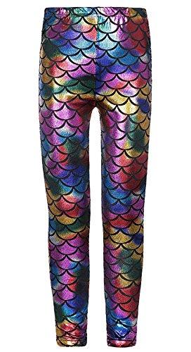 (Islander Fashions M�dchen Shinny Meerjungfrau Legging Kinder Fisch Skala Stretchy Slim Fit Legging Hosen Multi Color Rainbow 5-6 Jahre)