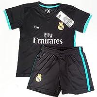 Segunda Equipación Infantil Réplica Oficial del Real Madrid Temporada 17/18, Color Negro (Talla 12)