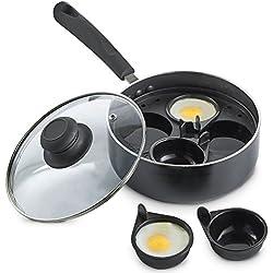 VonShef Casserole pour 4 œufs pochées/casserole antiadhésive avec coupelles de pochage et couvercle en verre