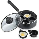 VonShef Non-stick 4 Cup Egg Poacher Aluminium Pan / 28cm Saucepan with Removable Poaching Cups & Glass Lid