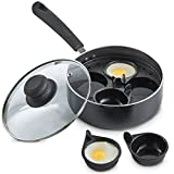 VonShef Non-stick 4 Cup Egg Poacher Aluminium Pan / 28cm Saucepan with Removable Poaching Cups & Glass Lid