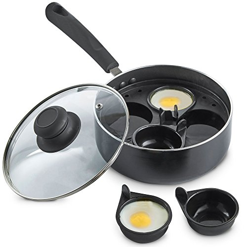 VonShef Ei Pfannkuchen Pochier-Pfanne für 4 Eier / Kochtopf mit Antihaft-Beschichtung mit entfernbaren Eierbechern & Glasdeckel (Stahl-rahmen Glas Gehärtetem Aus)
