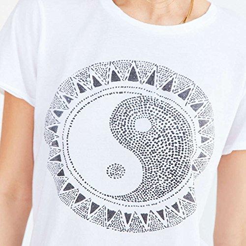 Smile YKK Femme Fashion T-Shirt Rond Col Motif Tiaiji Loose Tops Gilet Slim Blanc