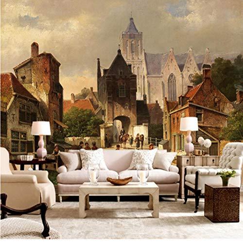 Pbbzl Weinlese-Tapeten-Wand-Wandgemälde-Schloss-Foto-Tapeten-Tapeten Für Wohnzimmer-Hintergrund-Tapeten-Hauptdekor-Schlafzimmer-350X250Cm