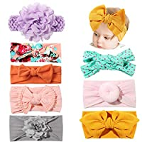 Bascolor Baby Girls Headbands Elastic Soft Bow Knot Turban Hairbands for Kids Toddler Newborn Infant Hair Accessories (Mix-8pcs)