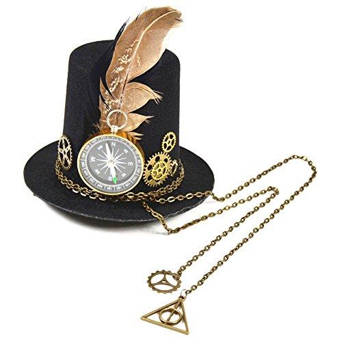 Double Villages Mini sombrero Clip gótica mujer Steampunk Gang alas reloj mariposa sombrero encaje cabello Clip chapellerie