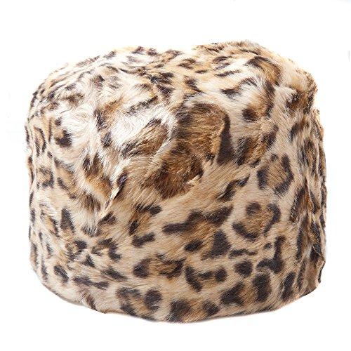 Accessoryo - Frauen-Leopard-Druck Faux Pelz Kosaken Stil russischen Hut (Leopard-pelz)