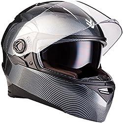 "Armor · AF-77 ""Carbon"" (gray) · Casco moto Integrale · Scooter Urban Cruiser FULL-FACE HELMET motocicleta · ECE certificado · Separate Visors · Click-n-Secure™ Clip · Bolsa de transporte · S (55-56cm)"