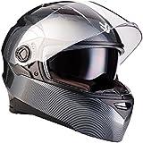 ARROW AF-77 Carbon · Sport Moto-Casque Casque Integral Cruiser Urban Helmet Scooter Fullface Moto · ECE certifiés · deux visières inclus · y compris le sac de casque · Carbon · L (59-60cm)