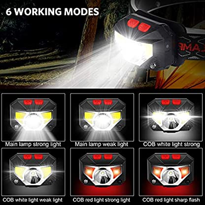 ulocool LED Head Torch, USB Headlamp, Ultra Bright 800 Lumens Rechargeable COB LED Headlight, 70g, with IPX45 Waterproof for Running, Camping, Hiking, Hunting, Climbing, Kids 2