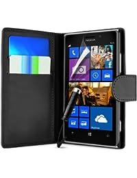 Brancher Zone Noir Portefeuille PU Cuir Clapet Étui Housse Pour Nokia Lumia 630 + Écran Protection + Polissage Vêtements & Mini Touch Screen Stylet